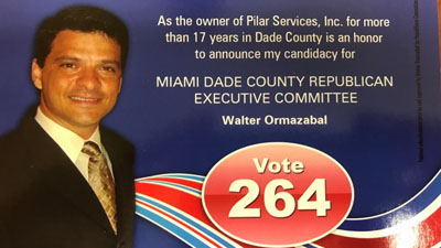 Walter Ormazabal, owner of Pilar Services, announces candidacy for the Miami Dade County Republican Executive Committee
