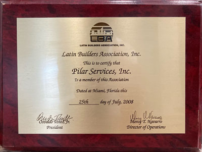 Plaque certifying that Pilar Services is a member of the Latin Builders Association