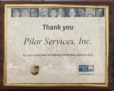 Framed picture thanking Pilar Services for our dedication to helping United Way improve lives.